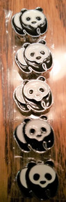 Ribbon Slider Charm Enameled Panda 5pc C2037