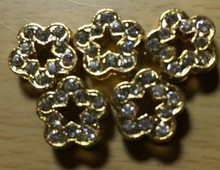 Rhinestone Ribbon Slider Charm Flower Gold 5pc C2019
