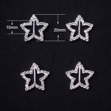 Rhinestone Ribbon Slider Star Silver 5pc C2039