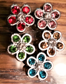 Rhinestone Ribbon Slider Charm Flower Silver w/colored Stones 5pc C2036