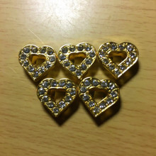 Rhinestone Ribbon Slider Charm Heart w/11 Stones & Heart Center Gold  5pc C2017