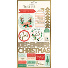 My Mind's Eye Christmas On Market St. Cardstock Stickers-Labels