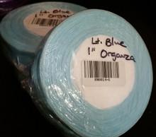 "Organza Ribbon 1"" LIGHT BLUE 50-yards RN0014-6"
