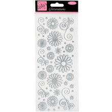 docrafts Anita's Glitterations Flowers Stickers, Silver
