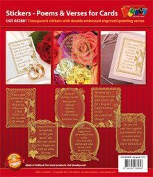 VERSES Silver N81 Poems & Verses for Cards GS652881 Peel Stickers One Sheet with 6 Stickers