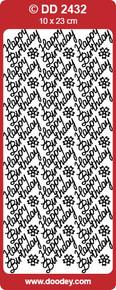 Doodey DD2432 Happy Birthday BLACK Peel-Off Outline Metallic Style Sticker