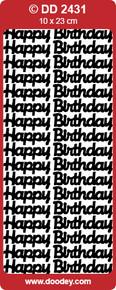 Doodey DD2431 Happy Birthday -  LARGE BLACK Peel Stickers One 9x4 Sheet