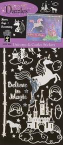 Hot Off The Press Dazzles Stickers-Unicorns & Castles, Silver