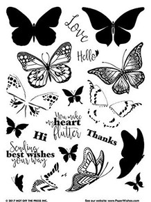 Hot Off The Press Layering Butterflies Clear Silicone Stamp Set
