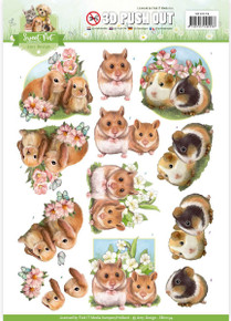 Amy Design - Sweet Pet Punchout Sheet-Hamsters & Guinea Pigs