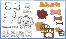 Heartfelt Creations Bundle Dies+Stamps Paw-Fect Pooches, HCD1-7116+HCPC3760