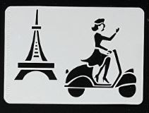 "Eifel TOwer and Scooter Stencil XDAH-351  2.5"" x 3.5"""