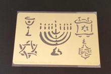 "Hanukkah Symbols Stencil XDAH-77  2.5x3.5"""