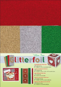 Ultra Fine Glitter foi Ultra Fine Glitter Foil Sheets for Scrapbooking, 2 Red/3 Assorted Colors
