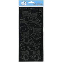 Elizabeth Craft Designs Lots of Owls Peel-Off Stickers, Black