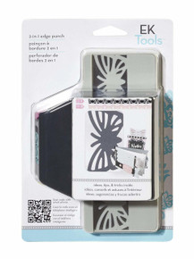 EK Success Tools 2-in-1 Edger Punch, Striped Butterfly