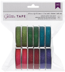 American Crafts Glitter Tape, 0.375-Inch by 4-Feet, Greens, 12-Pack
