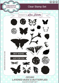 Creative Expressions Layered Buds & Butterflies Clear Stamp Set CEC893