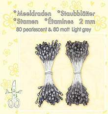 Leanne Creatief Light Grey Pearl Stamen. 80 Pearl and 80 matt Stamens