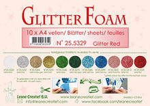 Leane Creatief Glitter Foam 10 A4 Sheets- Glitter Red