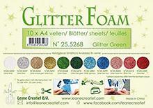 Leane Creatief Glitter Foam 10 A4 Sheets- Glitter Green