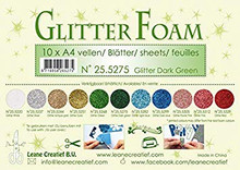 Leane Creatief Glitter Foam 10 A4 Sheets- Glitter Dark Green