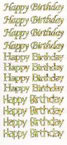 Hot Off the Press Dazzles Happy Birthday 1909 Holographic Gold Greetings Stickers