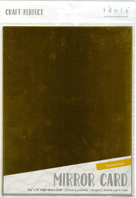Tonic Studios 9451E 8.5' x 11' Mirror Glossy Cardstock (5 per Pack), Polished Gold