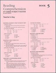 Reading Comprehension 5 Key