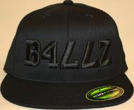 B477Z Black on Black 210 Fitted Flat Bill SKU # 0248-0101
