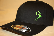Original B emblem Black with Lime Green B curve bill Flexfit hat SKU# 0281-0112