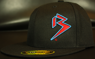 Two Tone Outline B Red/Cyan Blue on all Black Hat SKU # 0229-010688