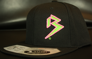Two Tone Outline B Neon Green/Neon Pink on all Black Snapback Sku # 0238-011224-OSFA