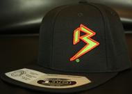 Two Tone Outline B Neon Green/Blood Orange on all Black Snapback Hat SKU # 0238-011222