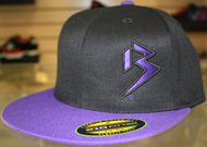 Two Tone Outline B Black and Purple 110 Snapback Flat Bill SKU # 0228-0125-OSFA