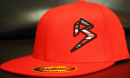 BLITZ Hat Red/Black/White on all Red 210 Premium Fitted Sku # 0251-060102