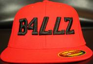 B477Z Red & Black 210 Premium Fitted Flat Bill SKU # 0248-0601