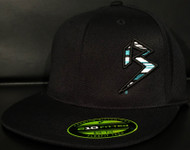 BLITZ Hat Black/Aqua/White on all Black 210 Premium Fitted Sku # 0251F-017702