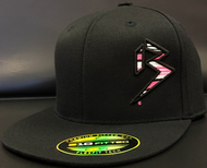 BLITZ Hat Black/Pink/White on all Black 210 Premium Fitted Sku # 0251F-012402
