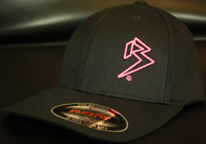 Youth Black Curve Bill with Neon Pink Outline B Hat SKU # 0211-0124