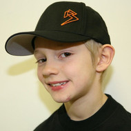 Youth Black Curve Bill with Orange Outline B Hat SKU # 0211-0107