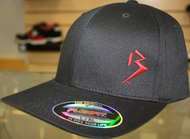 Original B emblem Black with Red B curve bill Flexfit hat SKU # 0281-0106