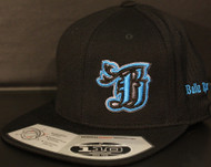 BR logo Cyan/Black on all Black 110 SNAPBACK Hat Sku # 0286S-018801-OSFA