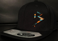 BLITZ BLACK/AQUA/ORANGE on all Black 110 SNAPBACK Hat Sku # 0251S-017707-OSFA