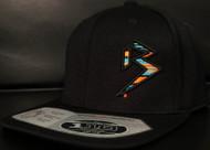 BLITZ BLACK/AQUA/ORANGE on all Black 110 SNAPBACK Hat Sku # 0251S-017707-OSFA