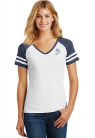 B GAME DAY - V-NECK - WHITE/HEATHER NAVY SKU: 0128-0220