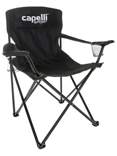 ... FOLDING CHAIR WITH CUP HOLDER    BLACK. Image 1