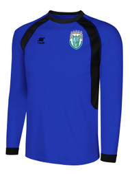ROCHESTER JUNIOR RHINOS RAVEN LONG SLEEVE GOALKEEPER JERSEY W/PADDING -- ROYAL BLUE  / BLACK