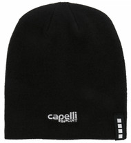 BEANIE W/EMBROIDERED LOGO  --  BLACK WHITE
