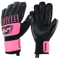 CS 4 CUBE TEAM YOUTH GOALIE GLOVE WITH FINGER PROTECTION -- NEON PINK NEON GREEN BLACK